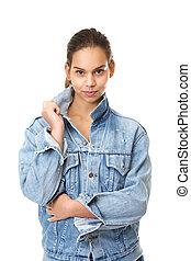 Cute girl in blue denim jeans jacket
