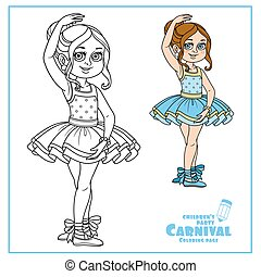 Cute girl in carnival costume of a ballerina color and outlined for coloring page