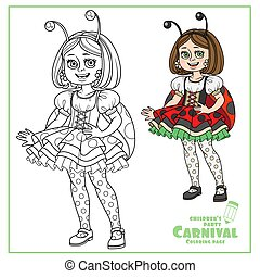 Cute girl in carnival costume of ladybug color and outlined for coloring page
