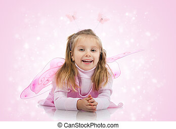 Cute girl in fairy costume on white