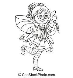 Cute girl in fairy costume outlined for coloring page