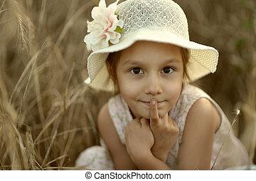 Cute girl in fied