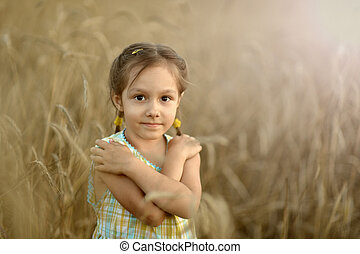Cute girl in field