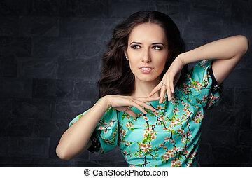 Cute Girl in Floral Print Dress