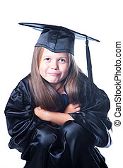 Cute girl in graduation dress