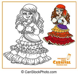 Cute girl in gypsy carnival costume with a fortune-telling ball in hand color and outlined for coloring page
