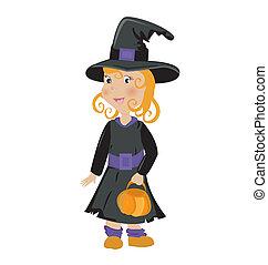 cute girl in halloween costume