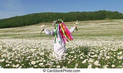 Cute Girl In Having Fun In The Field Of Chamomiles