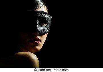 masquerade mask - cute girl in masquerade mask