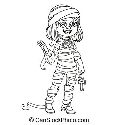 Cute girl in mummy costume outlined for coloring page
