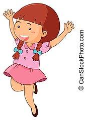Cute girl in pink dress