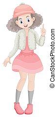 Cute girl in pink skirt