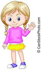 Cute girl in pink sweather