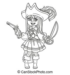 Cute girl in pirate costume outlined for coloring page
