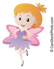 Cute girl in purple fairy costume