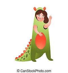 Cute girl in red green color dinosaur costume