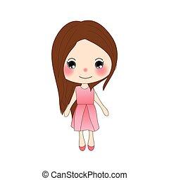 Cute Girl in Rose Pink Dress.