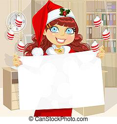 Cute girl in Santa cap hold banner