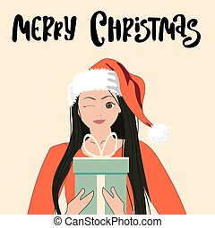 Cute girl in santa hat with gift. Merry Christmas illustration. Trendy retro style. Vector design template.