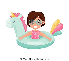 Cute Girl in Sunglasses Swimming with Rubber Ring Vector Illustration