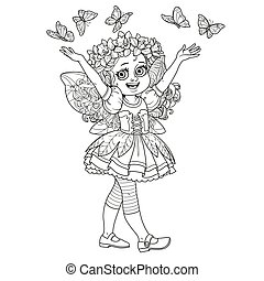 Cute girl in the costume of a spring fairy with butterflies outlined isolated on a white background