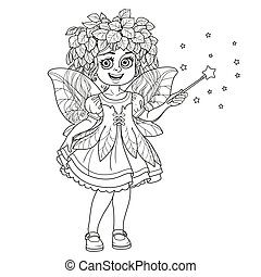 Cute girl in the costume of a spring fairy with magic wand outlined isolated on a white background