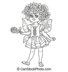 Cute girl in the costume of a summer fairy in flower wreath of hydrangea outlined isolated on a white background