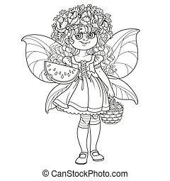Cute girl in the costume of a summer fairy in flower wreath with watermelon and strawberry outlined isolated on a white background