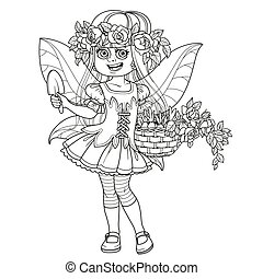 Cute girl in the costume of summer fairy in flower wreath of roses and with basket with sprouts in hands outlined isolated on a white background