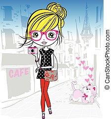 Cute girl in the paris