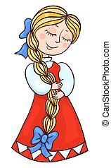 Cute girl in the Russian suit. Vector cartoon illustration....