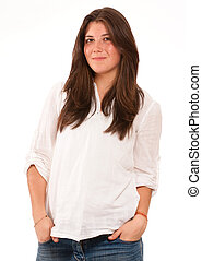 Cute girl in white shirt