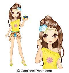 Cute Girl In Yellow Blouse
