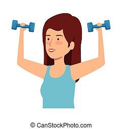 cute girl lifting dumbbells