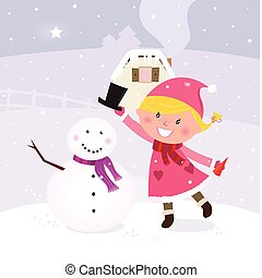 Cute girl making snowman - Happy smiling girl in pink ...