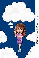 Cute girl on blue sky