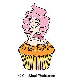 Cute girl on cupcake.