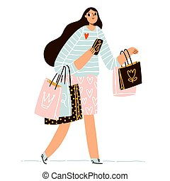 Cute girl on shopping with a lot of paper bags, fashion retail vector illustration