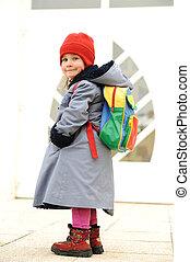 Cute girl outdoor, going to kindergarten