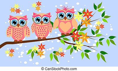 Cute girl owls. Baby showers, parties for baby girls.