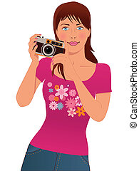 Cute girl photographer