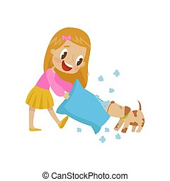 Cute girl playing pillow fight with her dog, hoodlum cheerful kid, bad child behavior vector Illustration on a white background
