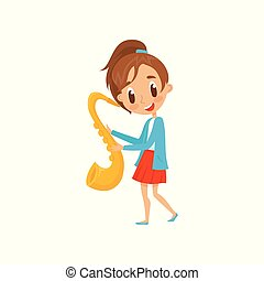Cute girl playing saxophone, talented little musician character with musical instrument cartoon vector Illustration on a white background