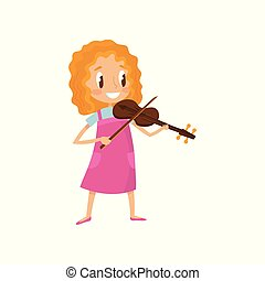 Cute girl playing violin, talented little musician character with musical instrument cartoon vector Illustration on a white background