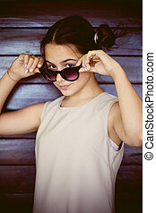 cute girl portrait with sunglasses