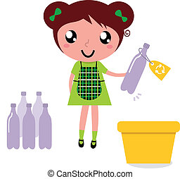 Cute girl recycle garbage into recycling bin - Girl with...