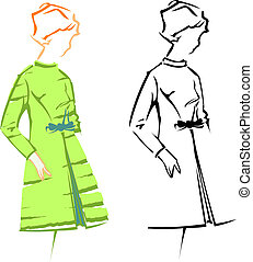 Cute Girl. Retro Fashion Vector Sketches.