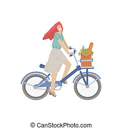Cute girl ride a city bike with product basket, full of bread, greenery food, vegetables. Smiling happy girl on a bicycle, vector illustration, riding from food shop, doing summer sport activity.