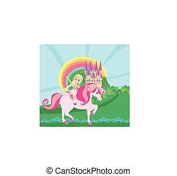 cute girl rides a unicorn