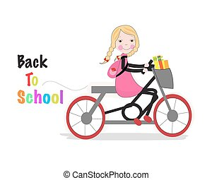 Cute girl riding a bicyle back to school background